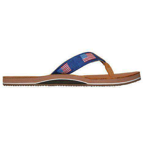 Men's Footwear - American Flag Needlepoint Flip Flops In Classic Navy By Smathers & Branson