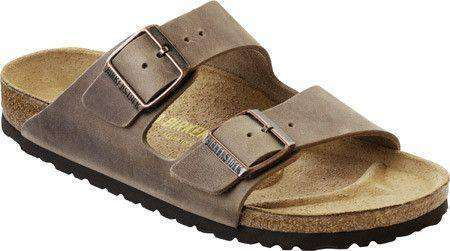 Men's Footwear - Arizona Sandal In Oiled Tobacco Brown Leather With Soft Footbed By Birkenstock