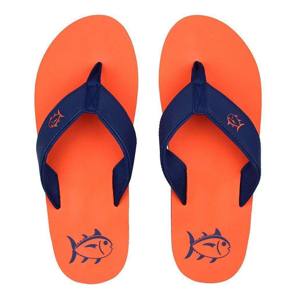 Men's Footwear - Beachside Flipjacks In Island Orange By Southern Tide
