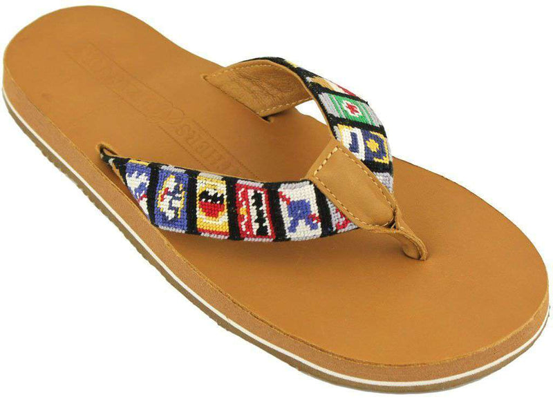 Men's Footwear - Beer Cans Needlepoint Flip Flops In Tan Leather By Smathers & Branson