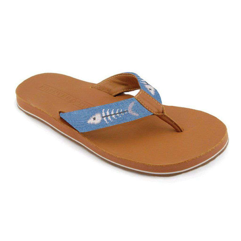 Men's Footwear - Bonefish Needlepoint Flip Flops In Stream Blue By Smathers & Branson