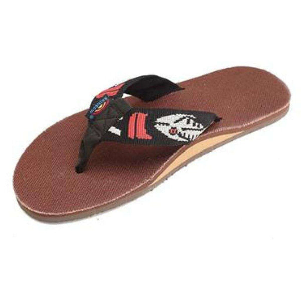 Men's Footwear - Brown Hemp Top Single Layer Arch Sandal With Silver Fish Strap By Rainbow Sandals