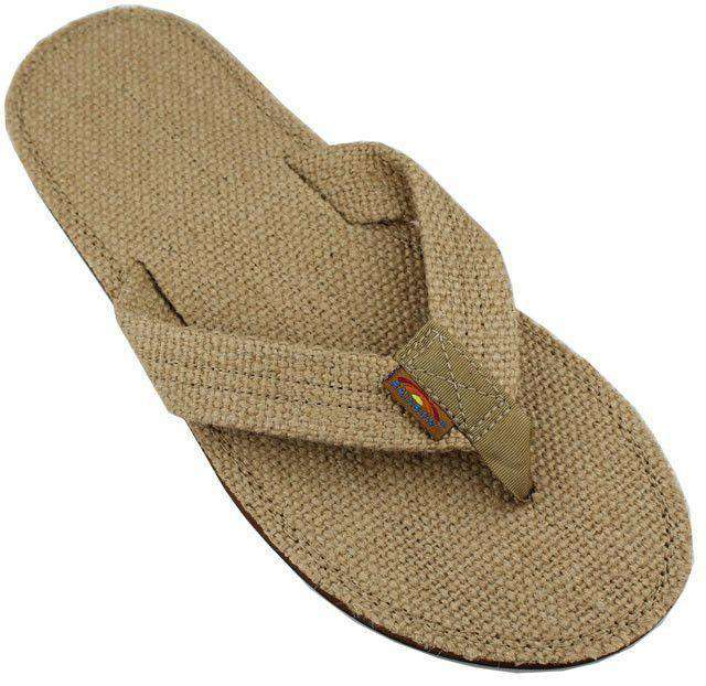 Men's Footwear - Burlap Single Layer Eco Sandal In Sierra Brown By Rainbow Sandals