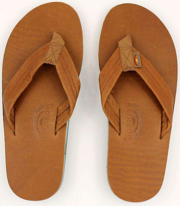 8203bb0ad2ef ... Men s Footwear - Classic Leather Double Layer Arch Sandal In Tan With  Blue By Rainbow Sandals
