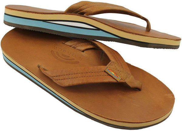 2686ca40d Men s Footwear - Classic Leather Double Layer Arch Sandal In Tan With Blue  By Rainbow Sandals ...