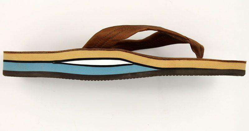 Men's Footwear - Classic Leather Double Layer Arch Sandal In Tan With Blue By Rainbow Sandals