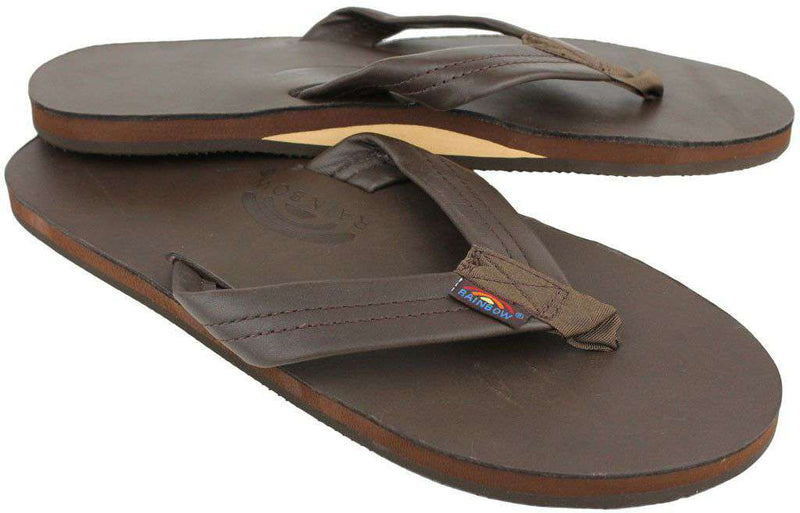 Men's Footwear - Classic Leather Single Layer Arch Sandal In Mocha By Rainbow Sandals