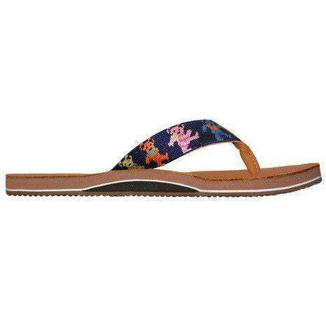 Men's Dancing Bears Needlepoint Flip Flops in Dark Navy by Smathers & Branson