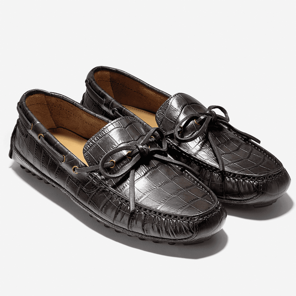 Men's Footwear - Grant Canoe Camp Driving Loafer In Chestnut Croc Print By Cole Haan