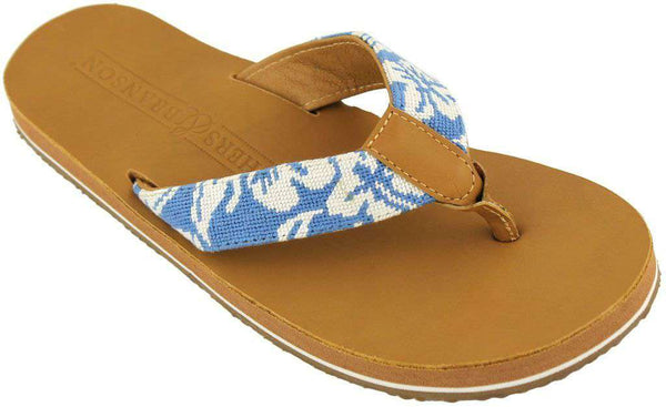 Men's Hibiscus Needle Point Flip Flops in Tan Leather by Smathers & Branson