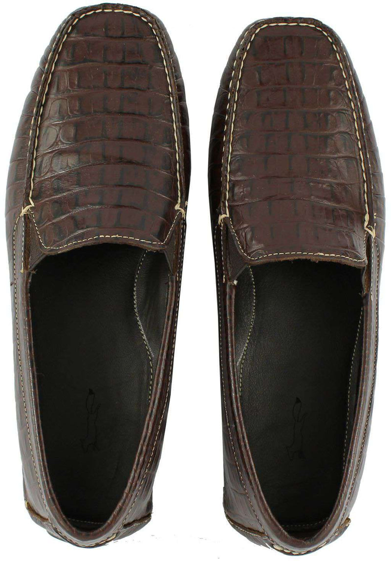 Men's Hook's Hand Driving Moccasins in Croco Sport Rust by Country Club Prep - FINAL SALE