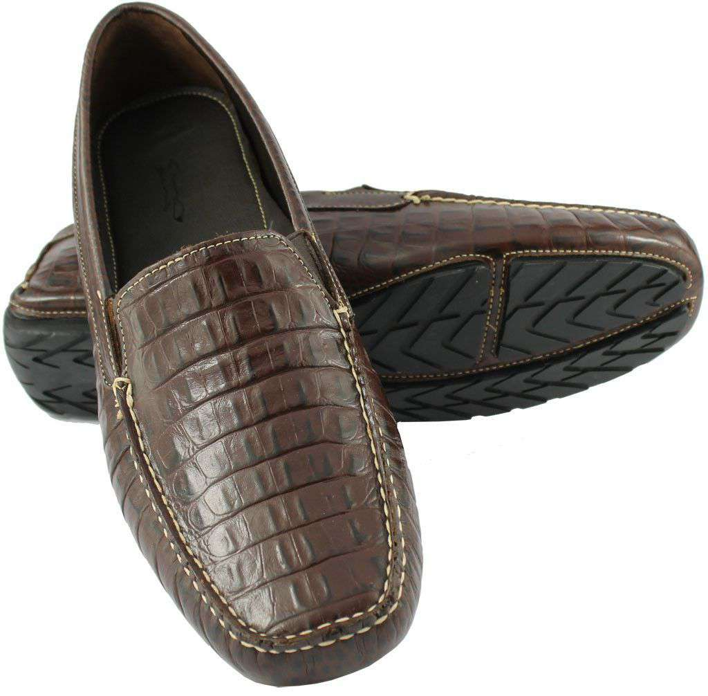 Men's Footwear - Hook's Hand Driving Moccasins In Croco Sport Rust By Country Club Prep