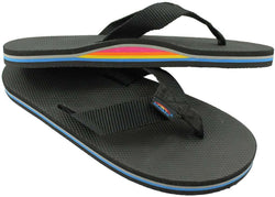 Men's Footwear - Limited Edition Classic Top Single Layer Arch Sandal In Solid Black With Rainbow Arch By Rainbow Sandals