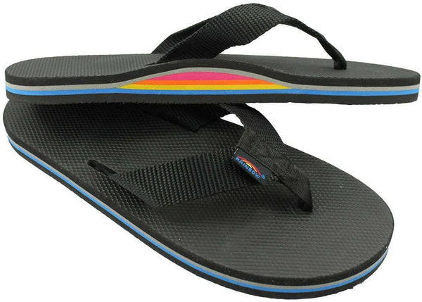 Men's Limited Edition Classic Top Single Layer Arch Sandal in Solid Black with Rainbow Arch by Rainbow Sandals