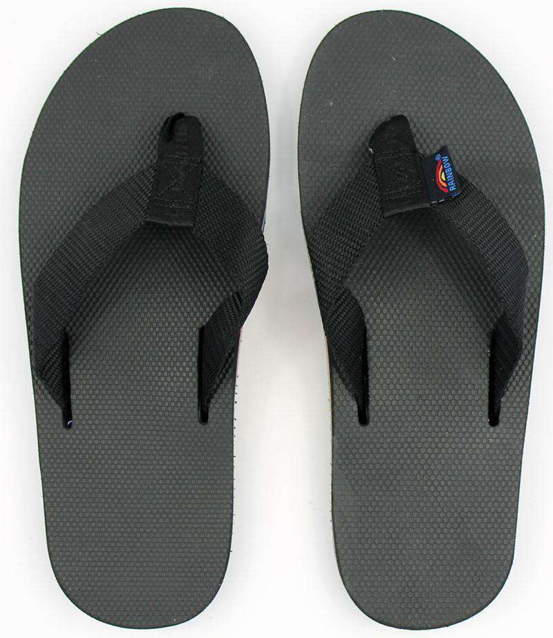 fc9887e9928a Men s Limited Edition Classic Top Single Layer Arch Sandal in Solid Black  with Rainbow Arch by Rainbow Sandals