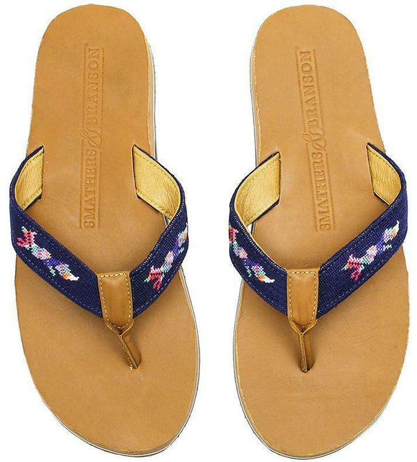 Men's Longshanks Needle Point Flip Flops in Navy by Smathers & Branson