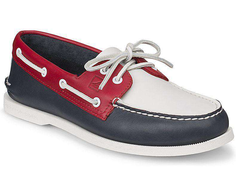 Men's Authentic Original 2-Eye Boat Shoe in Flag Day by Sperry