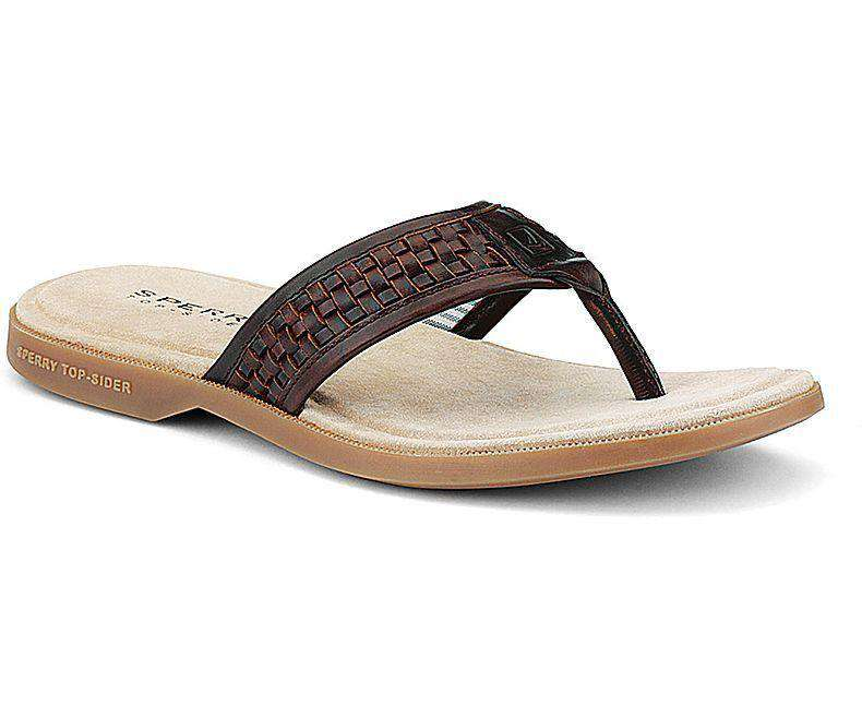 Men's Footwear - Men's Boat Sandal Woven Thong In Amaretto Leather By Sperry