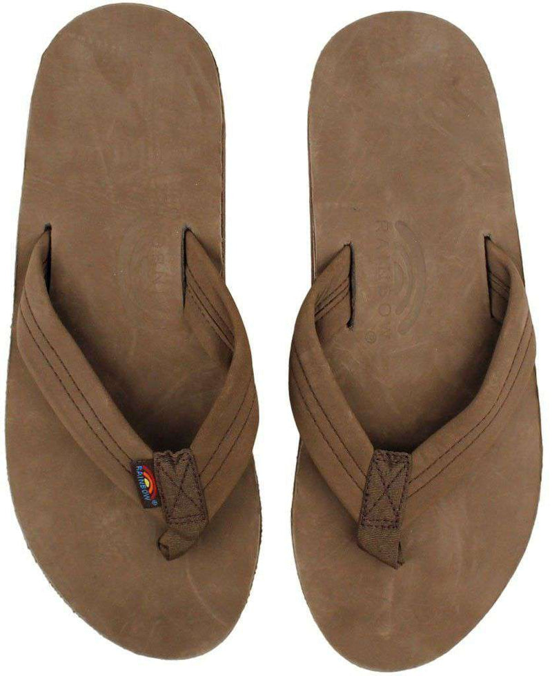 Men's Footwear - Men's Premier Leather Double Layer Arch Sandal In Expresso By Rainbow Sandals