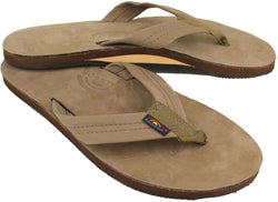 Men's Footwear - Men's Premier Leather Single Layer Arch Sandal In Dark Brown By Rainbow Sandals