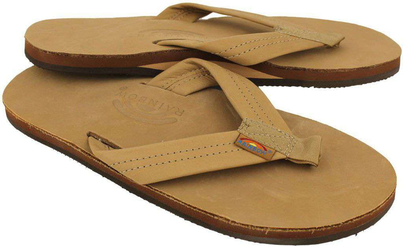 Men's Footwear - Men's Premier Leather Single Layer Arch Sandal In Sierra Brown By Rainbow Sandals