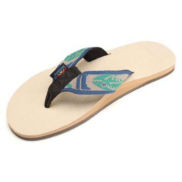Men's Footwear - Natural Hemp Top Single Layer Arch Sandal With Green Fish Strap By Rainbow Sandals