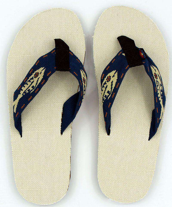 Men's Footwear - Natural Hemp Top Single Layer Arch Sandal With Navy Gold Fish Strap By Rainbow Sandals