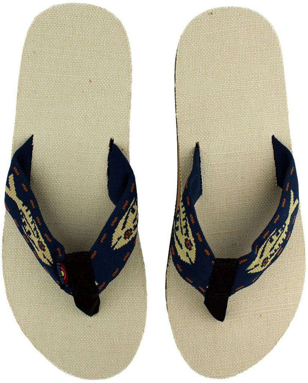 Men's Natural Hemp Top Single Layer Arch Sandal with Navy Gold Fish Strap by Rainbow Sandals