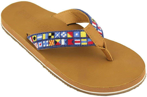 Men's Footwear - Nautical Alphabet Needle Point Flip Flops In Tan Leather By Smathers & Branson