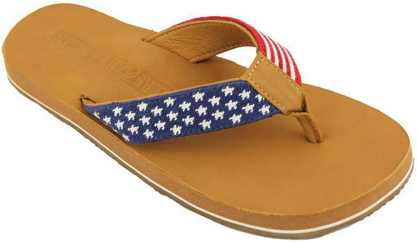 Men's Footwear - Old Glory Needlepoint Flip Flops In Red White And Blue By Smathers & Branson