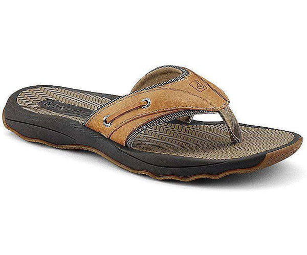 Men's Footwear - Outer Banks Thong Sandal In Tan Leather By Sperry