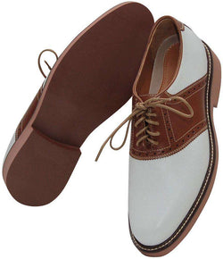 Men's Footwear - Saddle Up Shoes In White And Tan By Country Club Prep