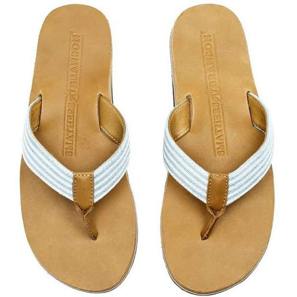 Men's Seersucker Stripe Needle Point Flip Flops in Tan Leather by Smathers & Branson