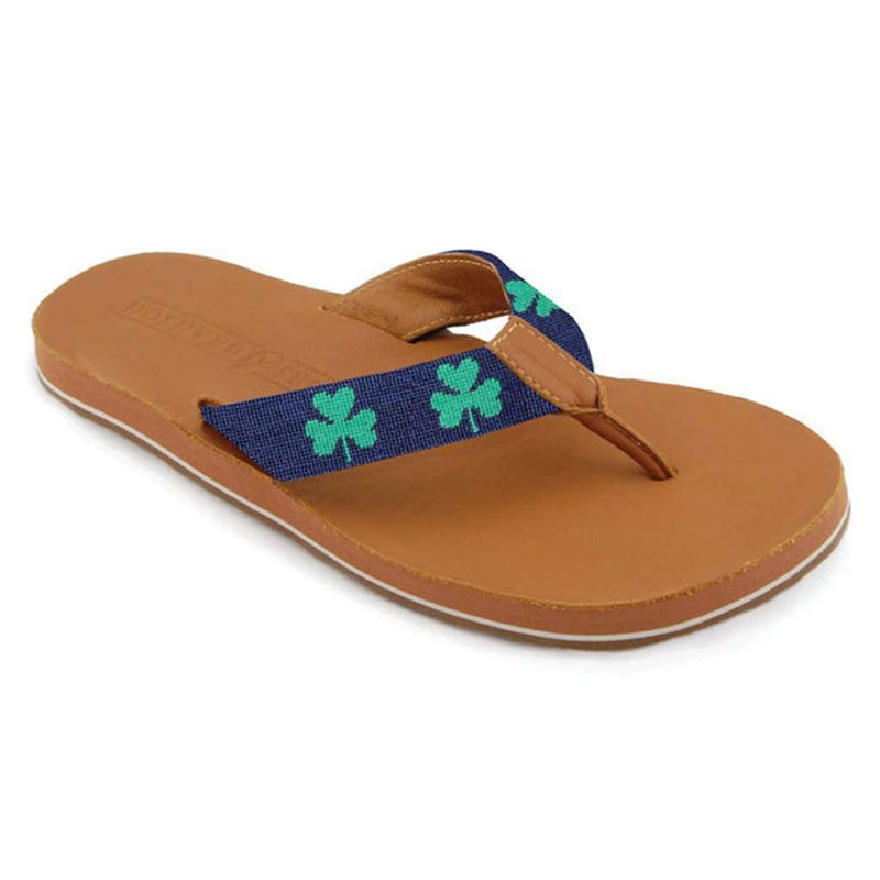 Men's Shamrock Needlepoint Flip Flops in Dark Navy by Smathers & Branson - FINAL SALE