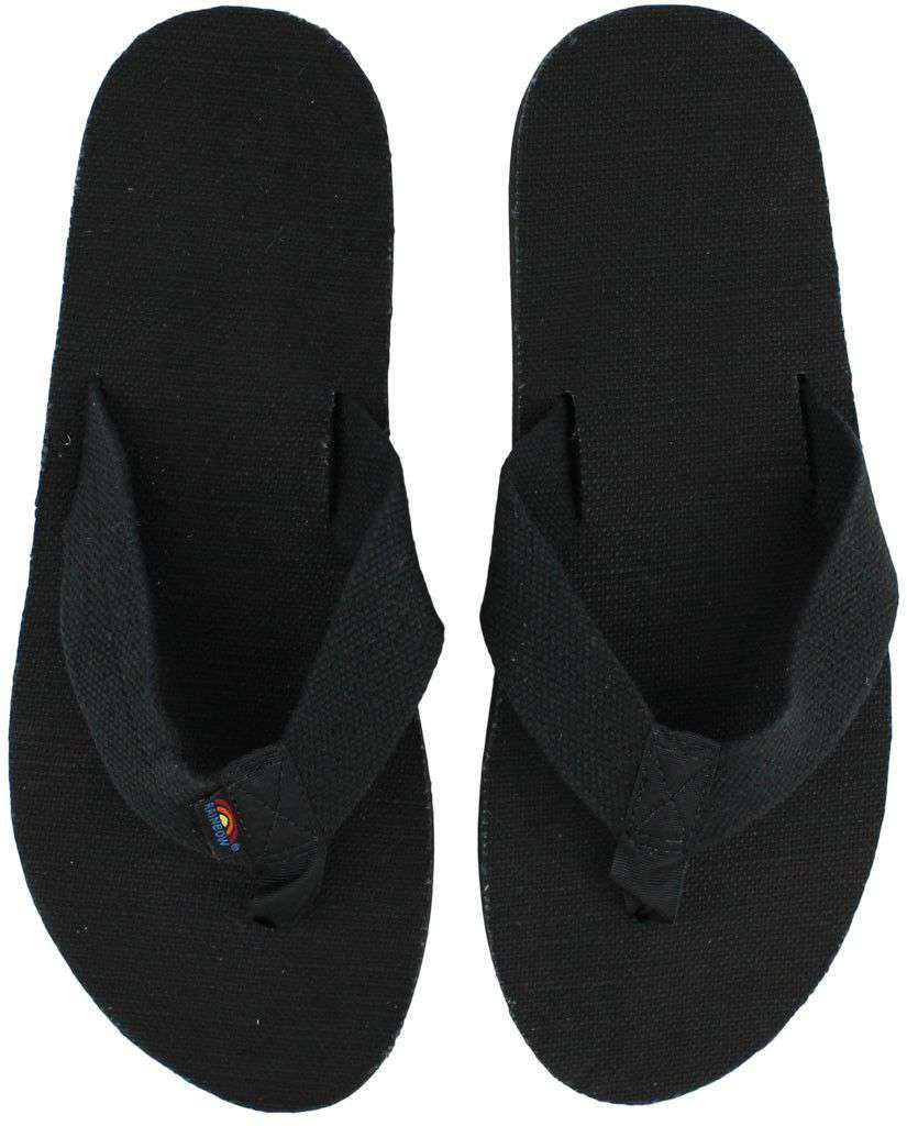 4f801a23c6679 Rainbow Sandals Single Layer Hemp Top and Strap with Arch Support in Black  – Country Club Prep