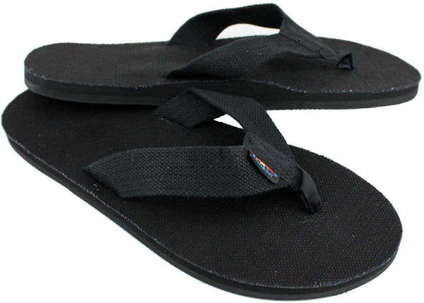 Men's Single Layer Hemp Top and Strap with Arch Support in Black by Rainbow Sandals