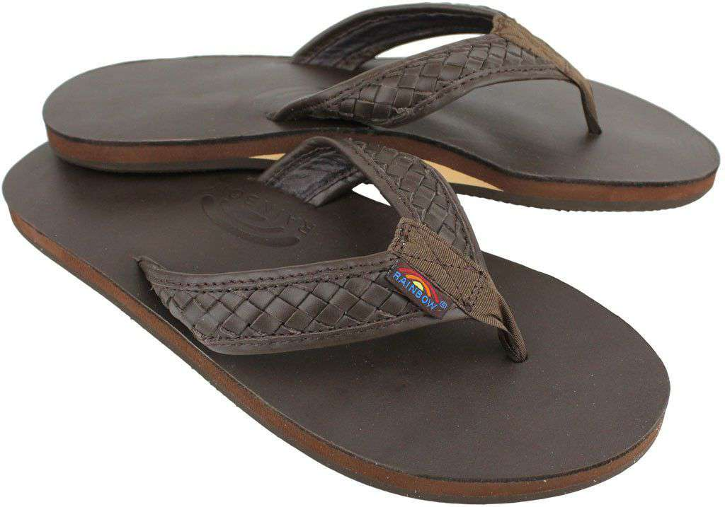 5707b523390c Rainbow Sandals The Bentley Men s Premier Leather Top and Woven Strap w   Arch Support in Classic Mocha – Country Club Prep