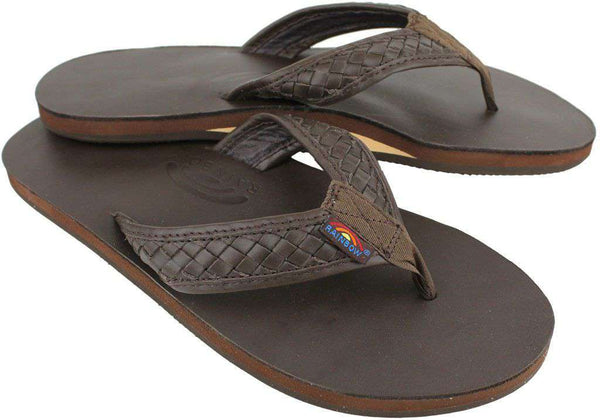 Men's Bentley Premier Leather Top and Woven Strap w/ Arch Support in Classic Mocha by Rainbow Sandals