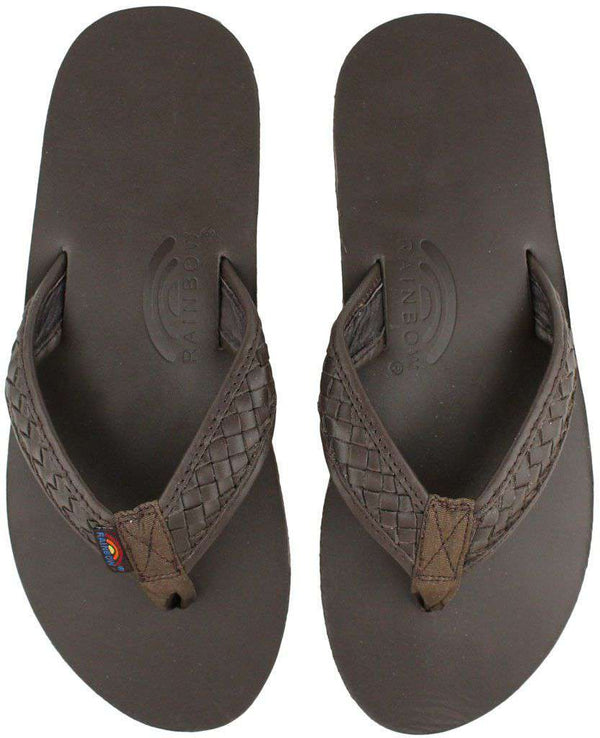 Men's Footwear - The Bentley Men's Premier Leather Top And Woven Strap W/ Arch Support In Classic Mocha By Rainbow Sandals