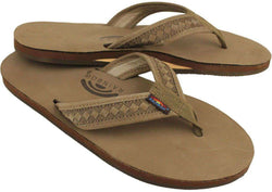 Men's Footwear - The Bentley Men's Premier Leather Top And Woven Strap With Arch Support In Dark Brown By Rainbow Sandals