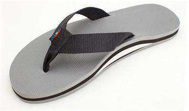 Men's Footwear - The Classic Single Layer Rubber Sandal In Grey By Rainbow Sandals