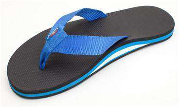 Men's Footwear - The Single Layer Classic Rubber Sandal In Black With Blue Nylon Strap By Rainbow Sandals