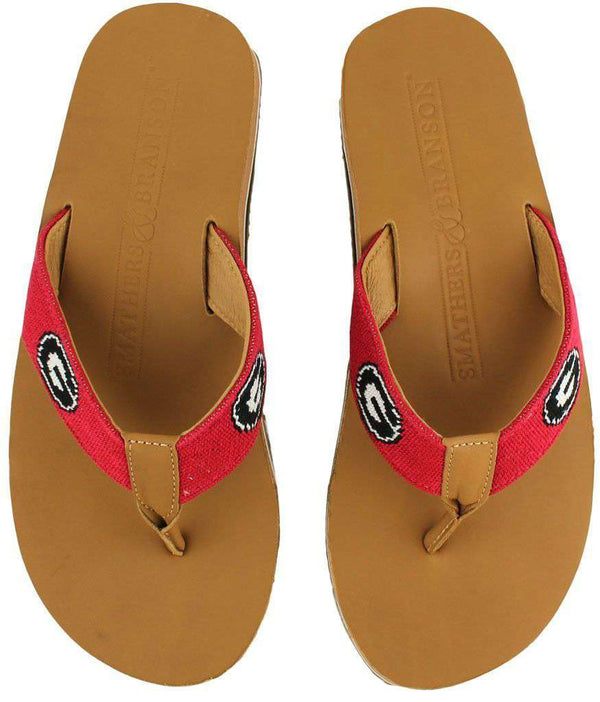 Men's UGA Needle Point Flip Flops in Tan Leather by Smathers & Branson