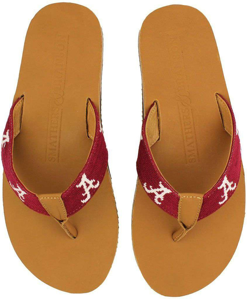 Men's Footwear - University Of Alabama Needle Point Flip Flops In Tan Leather By Smathers & Branson
