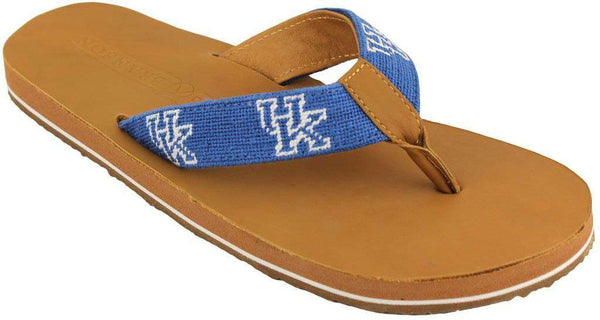 Men's University of Kentucky Needle Point Flip Flops in Tan Leather by Smathers & Branson - FINAL SALE