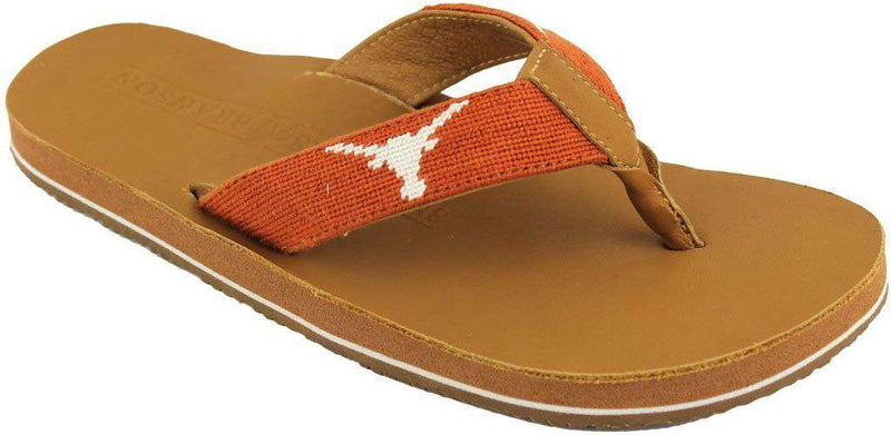 Men's University of Texas Needle Point Flip Flops in Tan Leather by Smathers & Branson - FINAL SALE