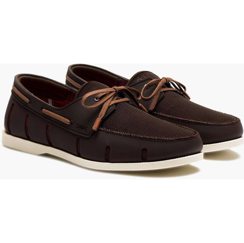 Men's Water Resistant Boat Loafer in Brown and Cream by SWIMS - FINAL SALE