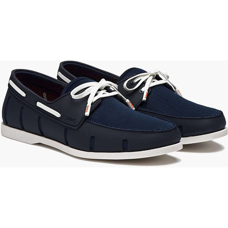 Men's Footwear - Water Resistant Boat Loafer In Navy And White By SWIMS - FINAL SALE