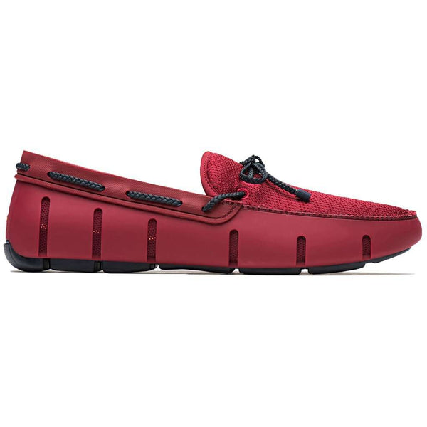 Men's Footwear - Water Resistant Braided Lace Loafer In Deep Red & Navy By SWIMS