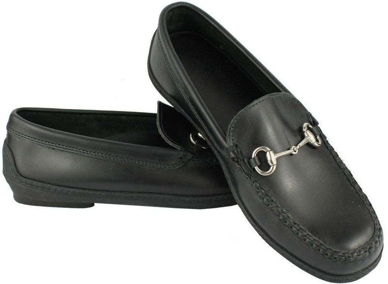 Men's Young Partner Bit Driving Shoes in Black Waxy with Matching Stitching by Country Club Prep